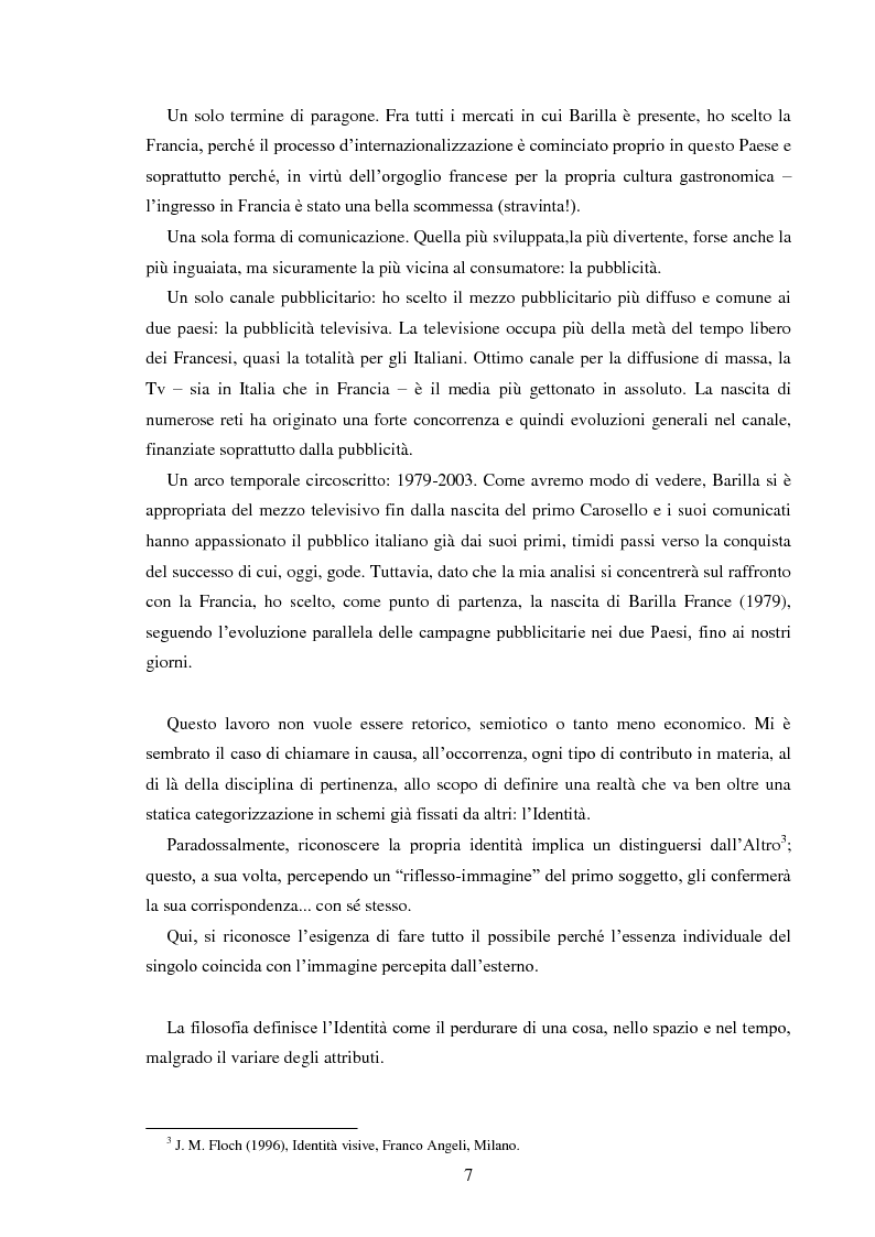 Anteprima della tesi: Pubblicità e identità globale - Il caso Barilla: Italia e Francia in raffronto attraverso l'analisi delle campagne televisive, Pagina 2