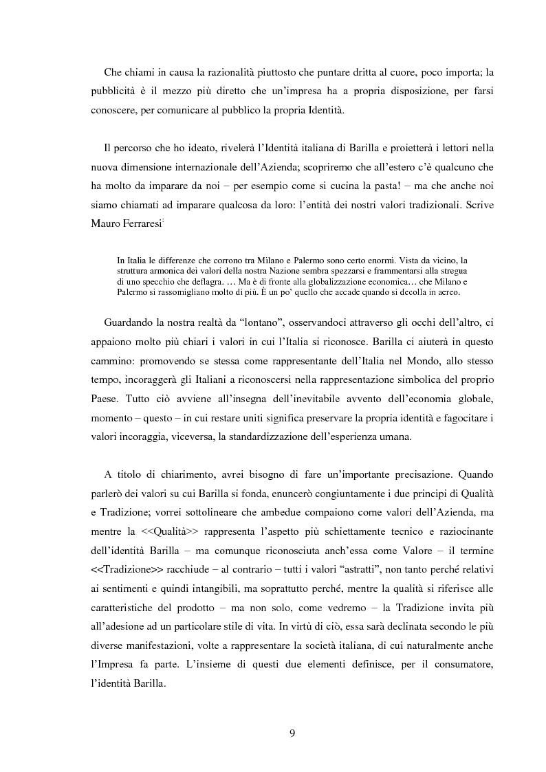 Anteprima della tesi: Pubblicità e identità globale - Il caso Barilla: Italia e Francia in raffronto attraverso l'analisi delle campagne televisive, Pagina 4
