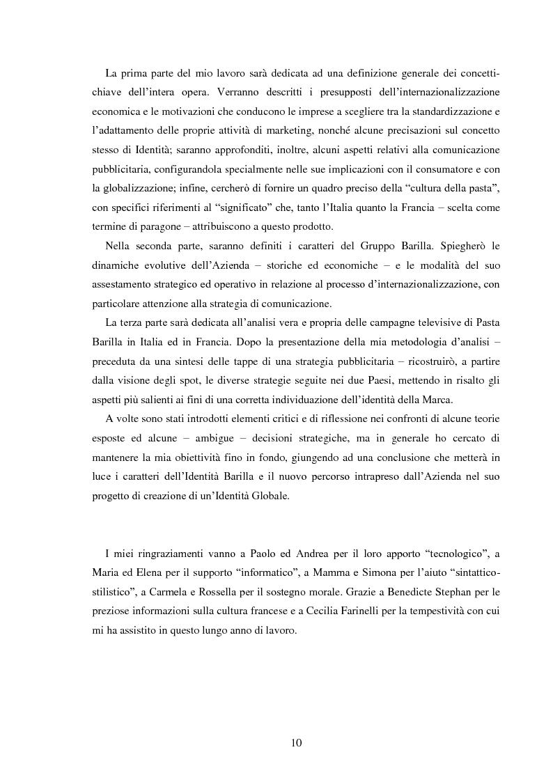 Anteprima della tesi: Pubblicità e identità globale - Il caso Barilla: Italia e Francia in raffronto attraverso l'analisi delle campagne televisive, Pagina 5