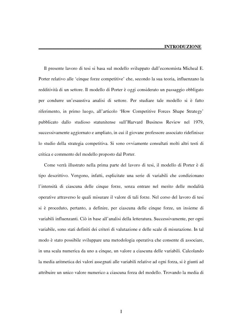Anteprima della tesi: Lo sviluppo di una metodologia operativa basata su modello di Porter: applicazione al caso di due settori, Pagina 1