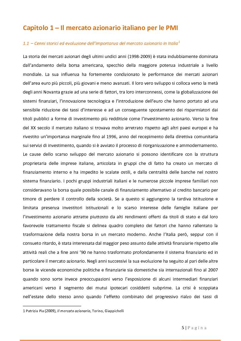 Anteprima della tesi: Alternative Investment Market (AIM Italia). Confronti e prospettive., Pagina 1