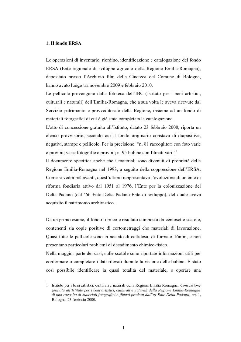 Anteprima della tesi: ''Per terre nuove uomini nuovi''. La propaganda cinematografica dell'Ente Delta Padano, Pagina 1