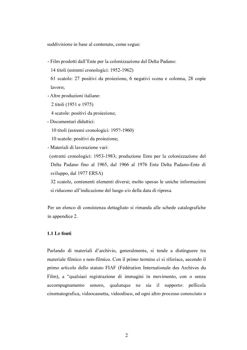 Anteprima della tesi: ''Per terre nuove uomini nuovi''. La propaganda cinematografica dell'Ente Delta Padano, Pagina 2
