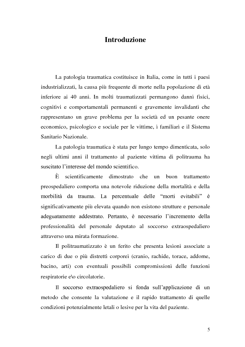Anteprima della tesi: Ruolo dell'infermiere nella gestione del paziente politraumatizzato nell'ambito del servizio di emergenza territoriale, Pagina 1
