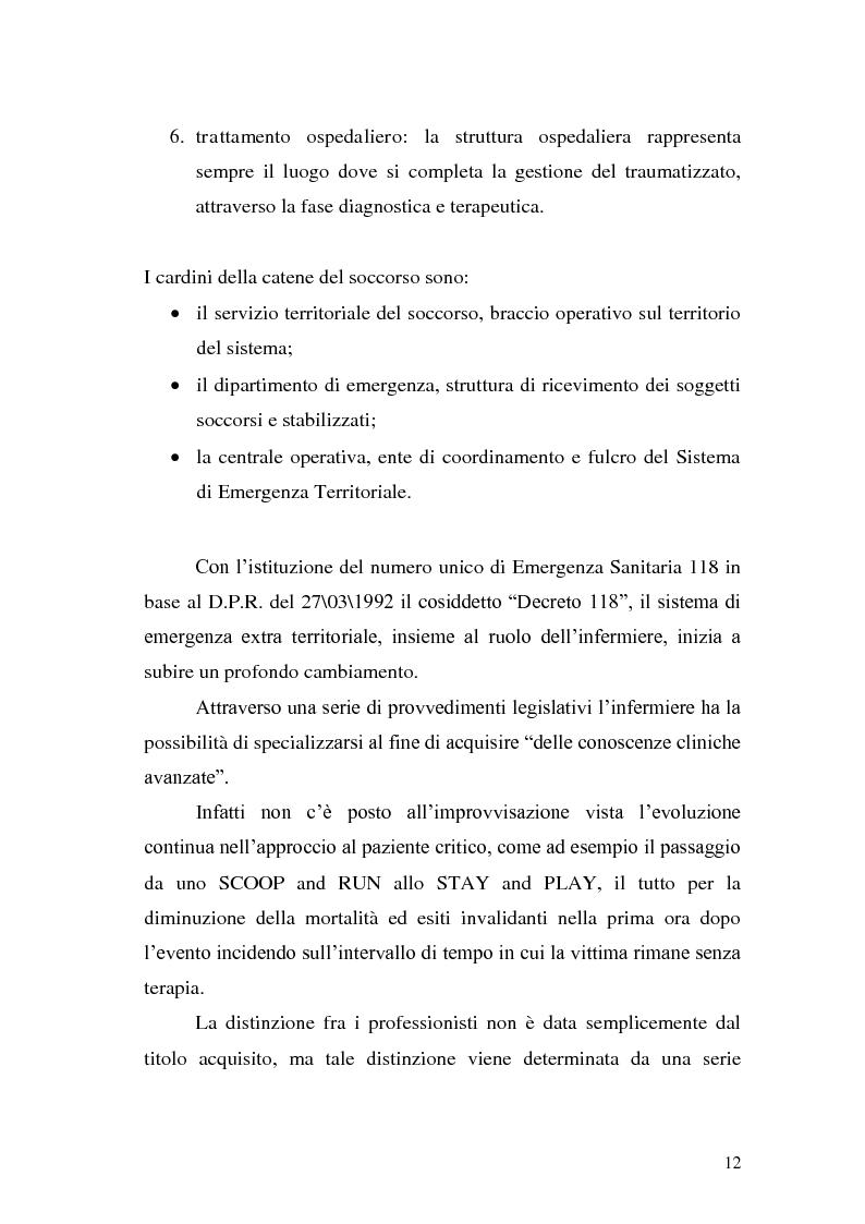Anteprima della tesi: Ruolo dell'infermiere nella gestione del paziente politraumatizzato nell'ambito del servizio di emergenza territoriale, Pagina 8
