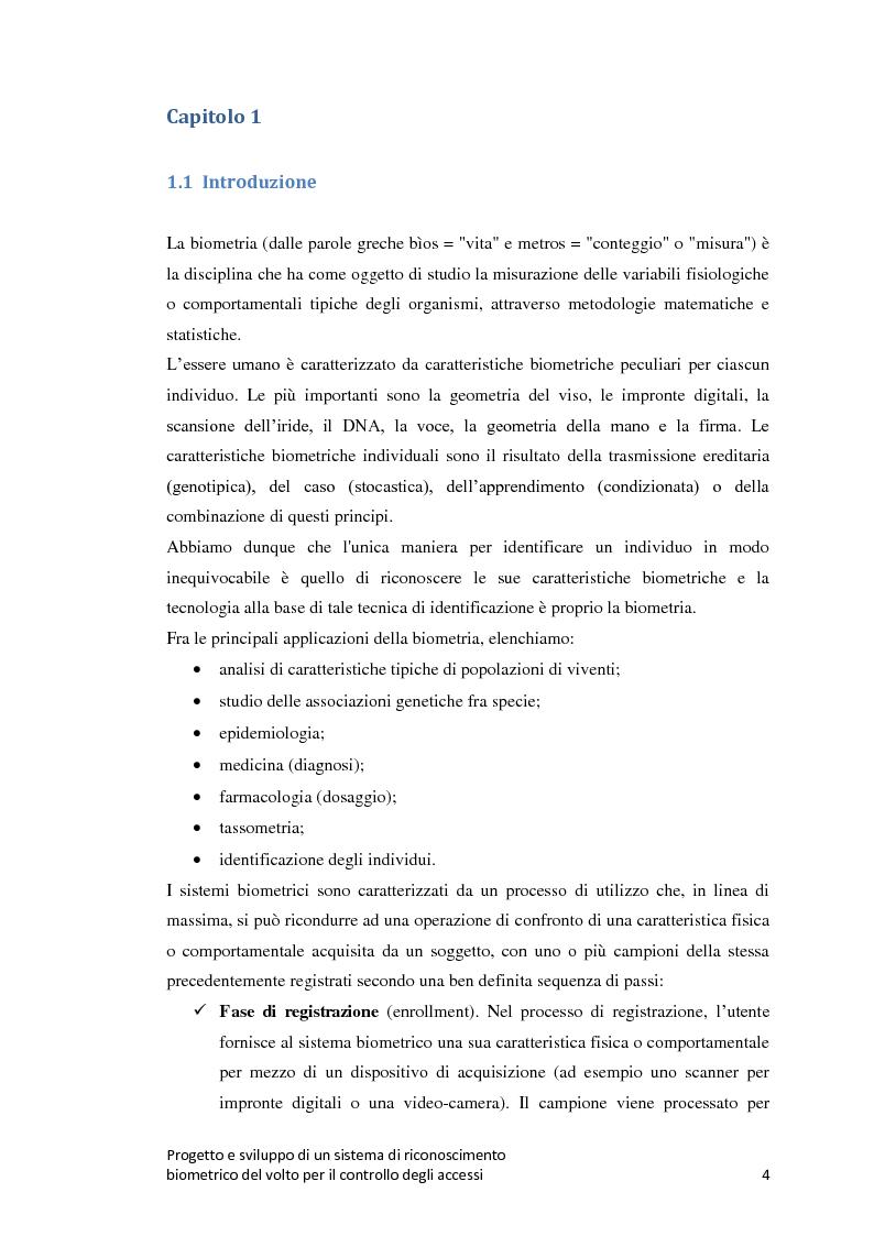 Anteprima della tesi: Progetto e sviluppo di un sistema di riconoscimento biometrico del volto per il controllo degli accessi, Pagina 1