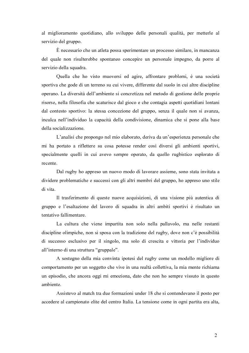 Anteprima della tesi: Il rugby come costruzione di uno spazio di socializzazione, Pagina 2