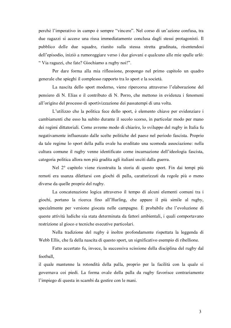 Anteprima della tesi: Il rugby come costruzione di uno spazio di socializzazione, Pagina 3