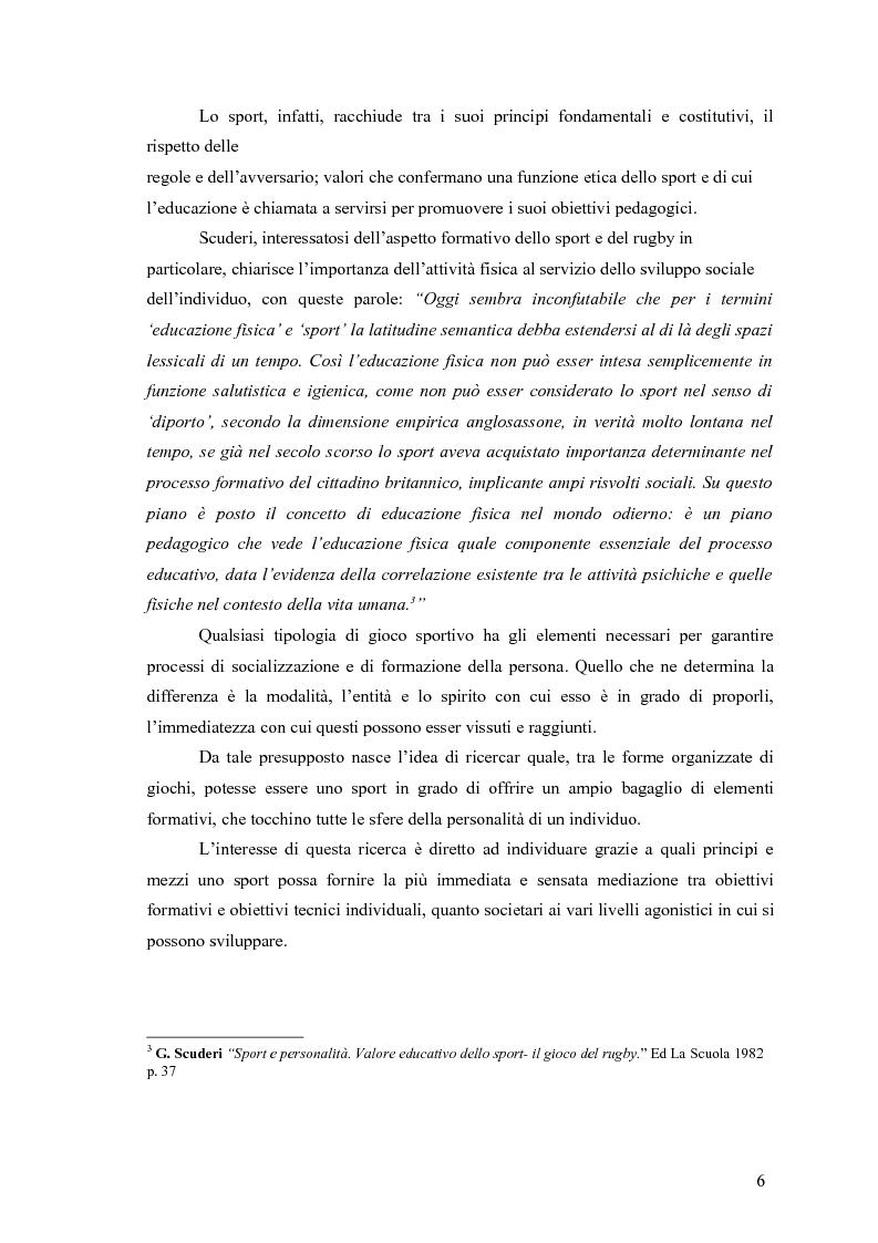 Anteprima della tesi: Il rugby come costruzione di uno spazio di socializzazione, Pagina 6