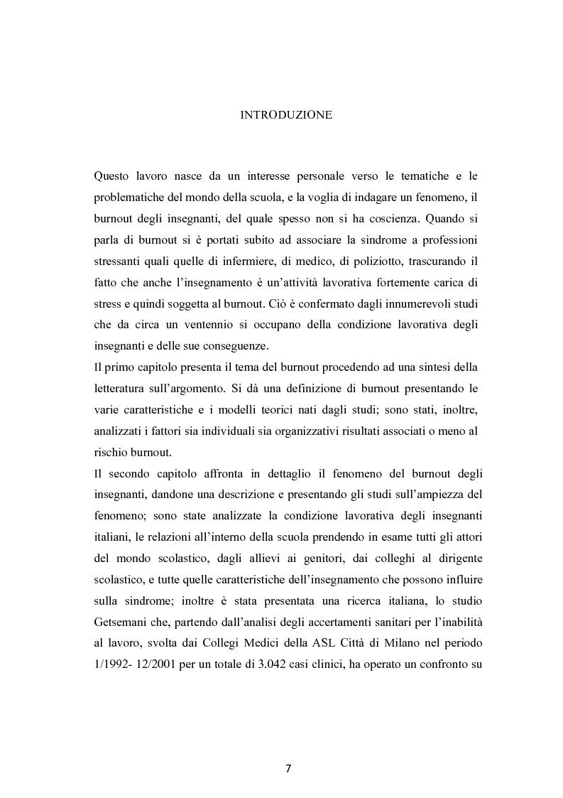Anteprima della tesi: Burnout e coping in un campione di insegnanti, Pagina 1