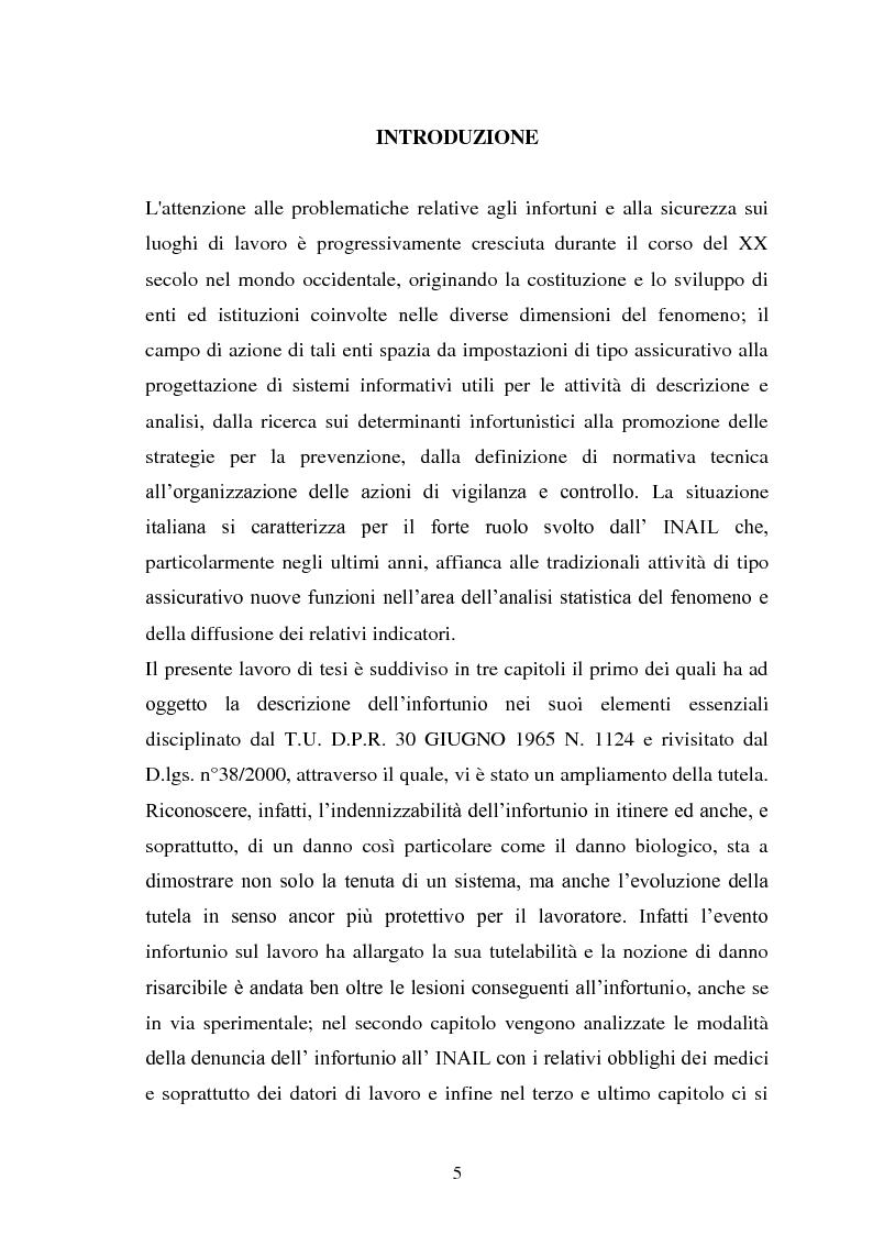Anteprima della tesi: Modalità di risarcimento del danno in caso di infortunio sul lavoro da parte dell'Inail, Pagina 1
