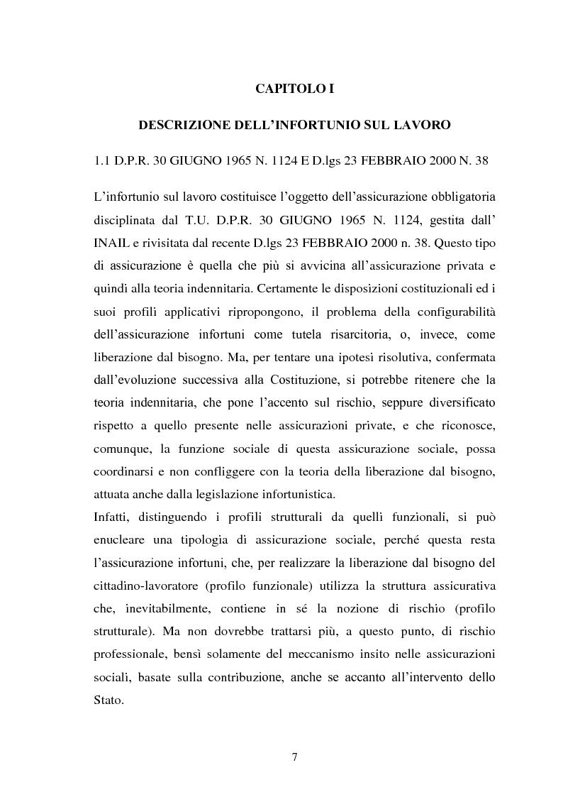 Anteprima della tesi: Modalità di risarcimento del danno in caso di infortunio sul lavoro da parte dell'Inail, Pagina 3