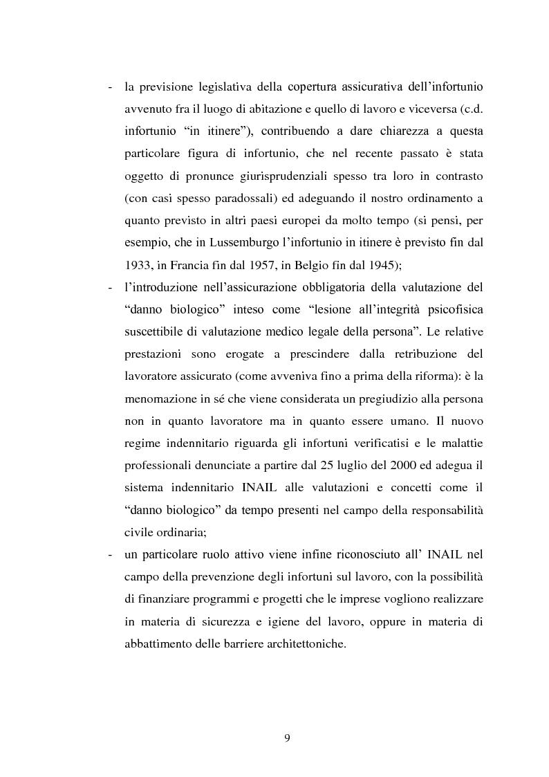 Anteprima della tesi: Modalità di risarcimento del danno in caso di infortunio sul lavoro da parte dell'Inail, Pagina 5