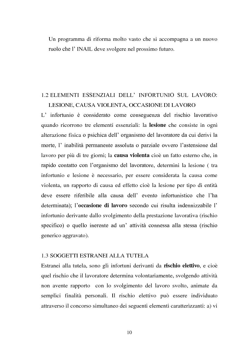 Anteprima della tesi: Modalità di risarcimento del danno in caso di infortunio sul lavoro da parte dell'Inail, Pagina 6