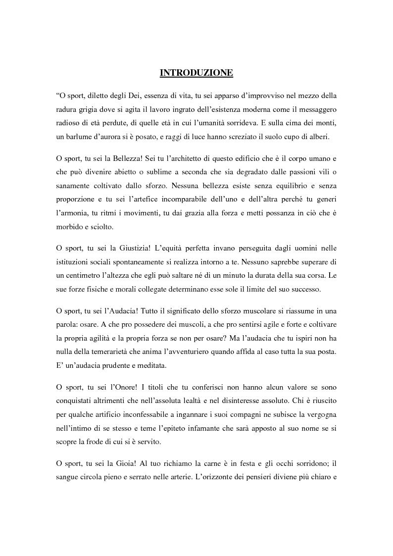 Anteprima della tesi: Le Olimpiadi: una lunga storia di sport, passioni, rinunce e... di politica, Pagina 1