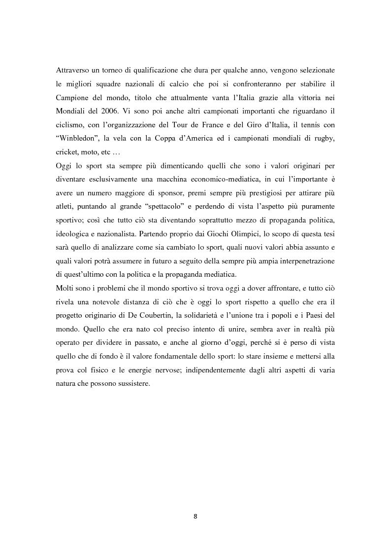 Anteprima della tesi: Le Olimpiadi: una lunga storia di sport, passioni, rinunce e... di politica, Pagina 4