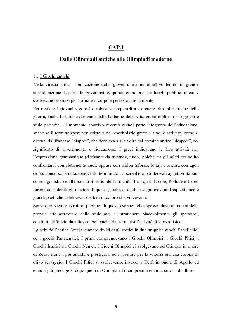 Anteprima della tesi: Le Olimpiadi: una lunga storia di sport, passioni, rinunce e... di politica, Pagina 5