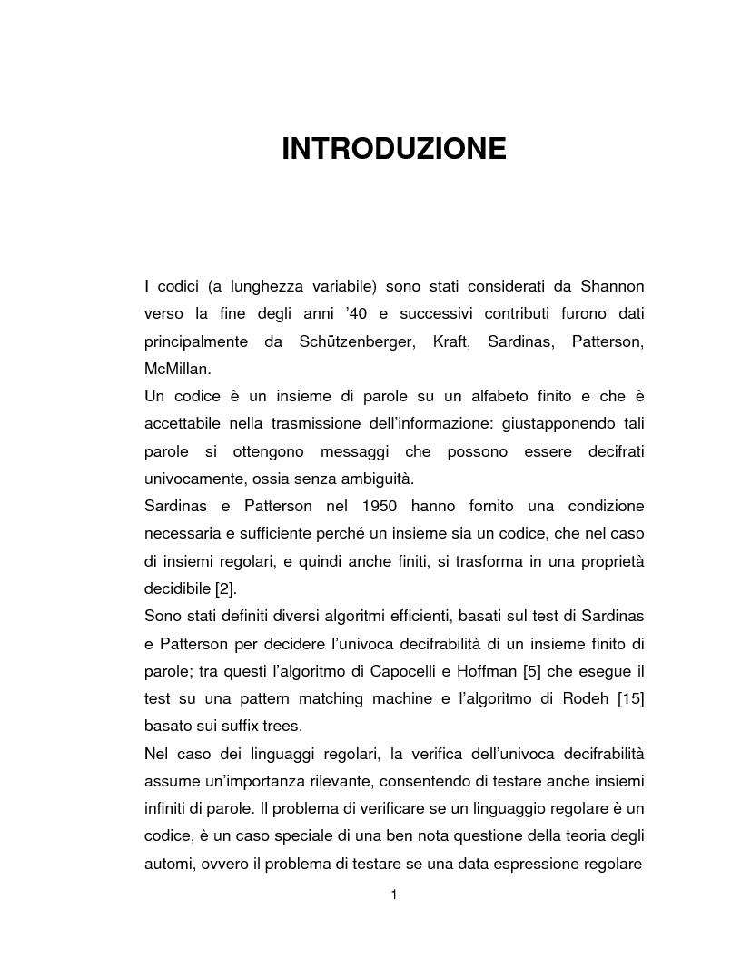 Anteprima della tesi: Progetto, analisi e implementazione in Java di un algoritmo efficiente per decidere l'univoca decifrabilità di linguaggi regolari, Pagina 1