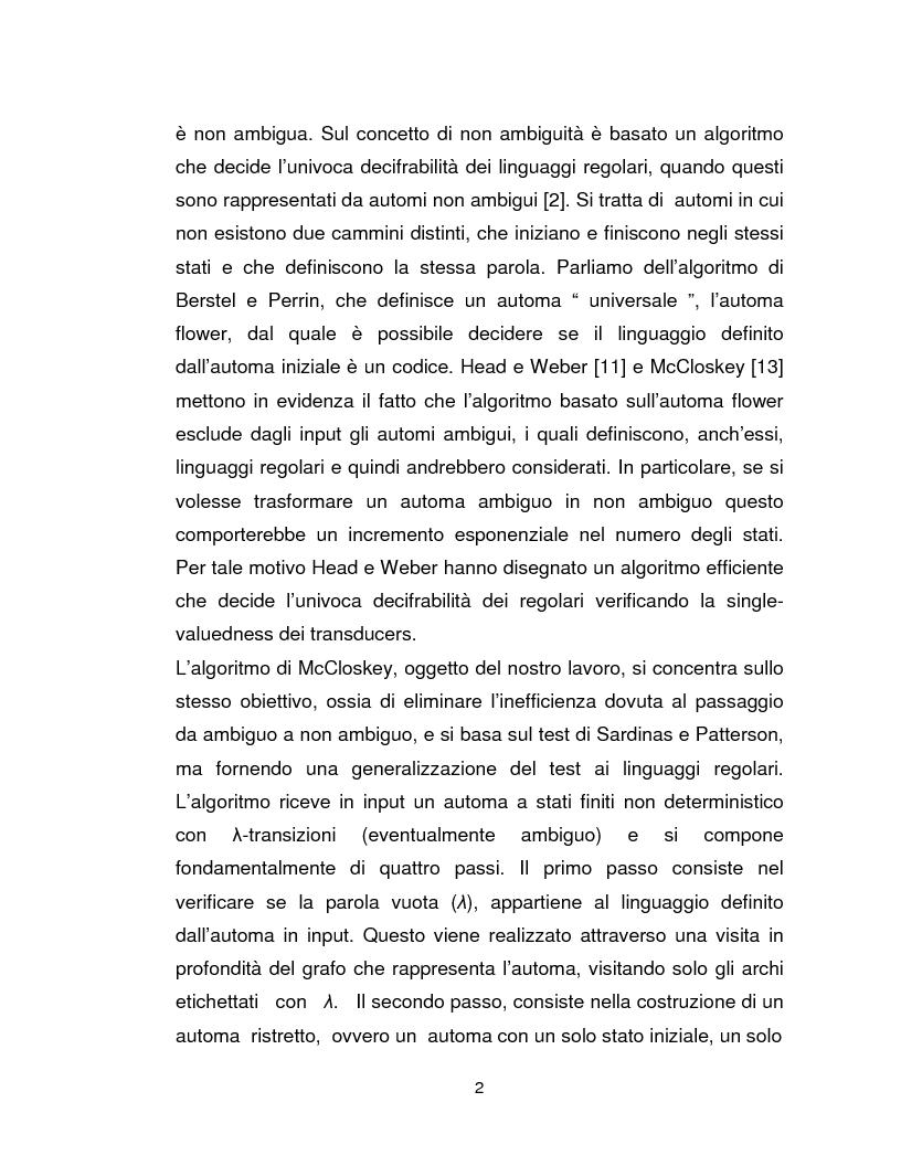 Anteprima della tesi: Progetto, analisi e implementazione in Java di un algoritmo efficiente per decidere l'univoca decifrabilità di linguaggi regolari, Pagina 2