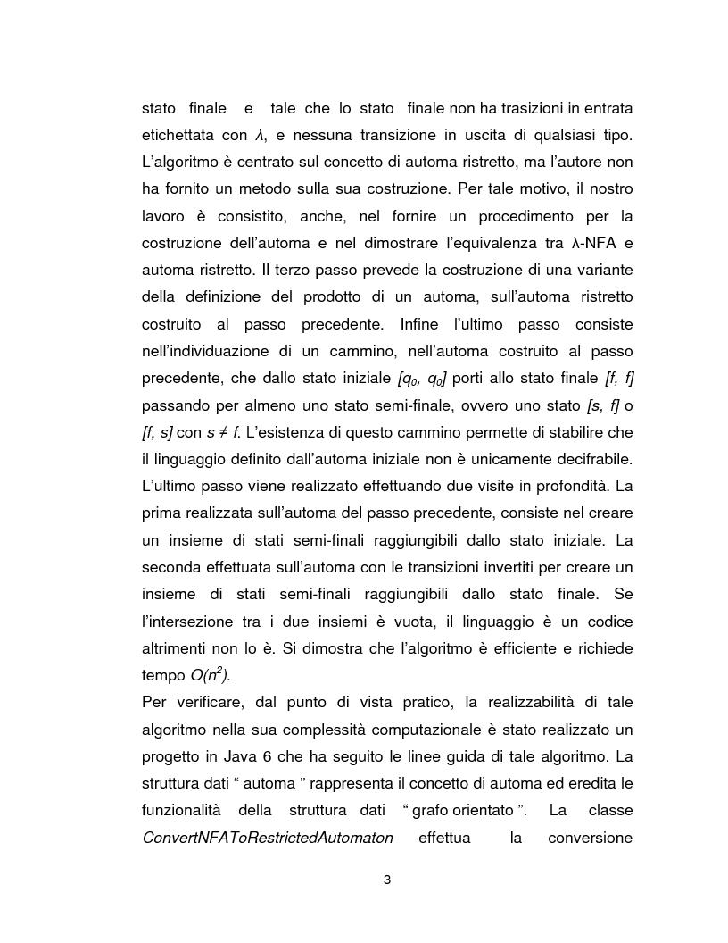 Anteprima della tesi: Progetto, analisi e implementazione in Java di un algoritmo efficiente per decidere l'univoca decifrabilità di linguaggi regolari, Pagina 3