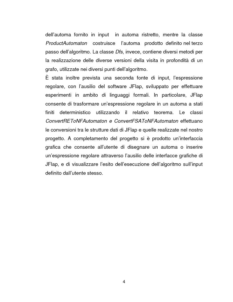 Anteprima della tesi: Progetto, analisi e implementazione in Java di un algoritmo efficiente per decidere l'univoca decifrabilità di linguaggi regolari, Pagina 4