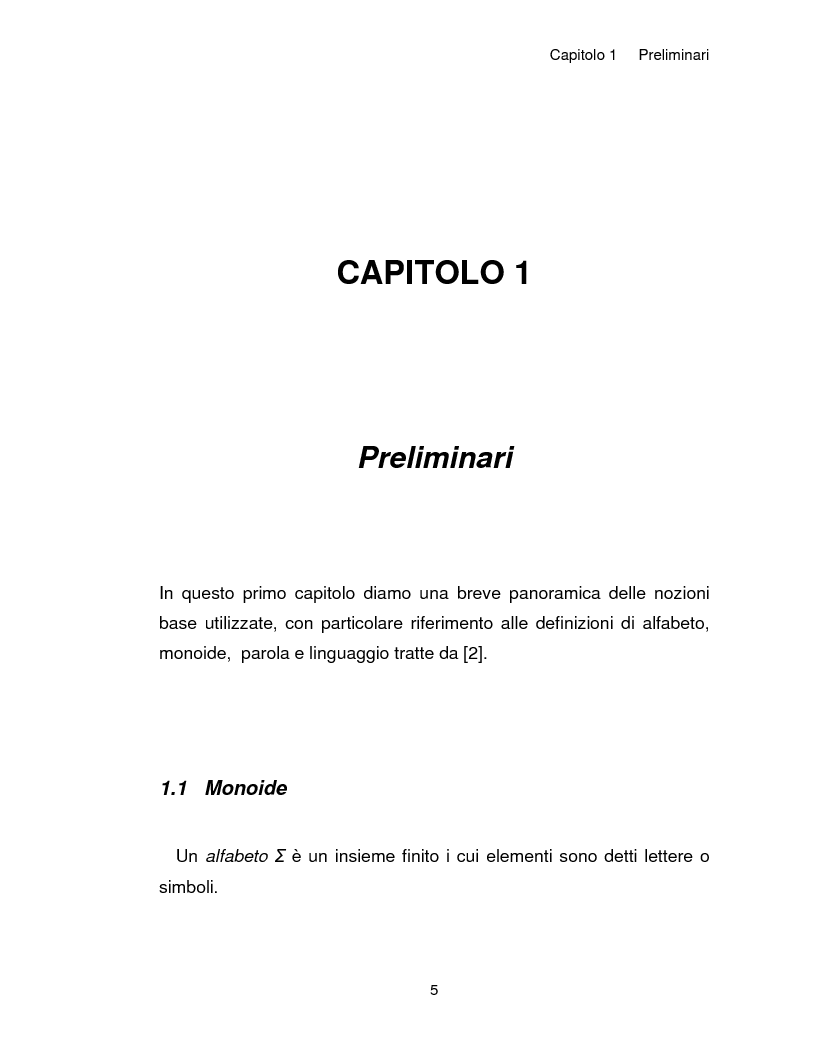 Anteprima della tesi: Progetto, analisi e implementazione in Java di un algoritmo efficiente per decidere l'univoca decifrabilità di linguaggi regolari, Pagina 5