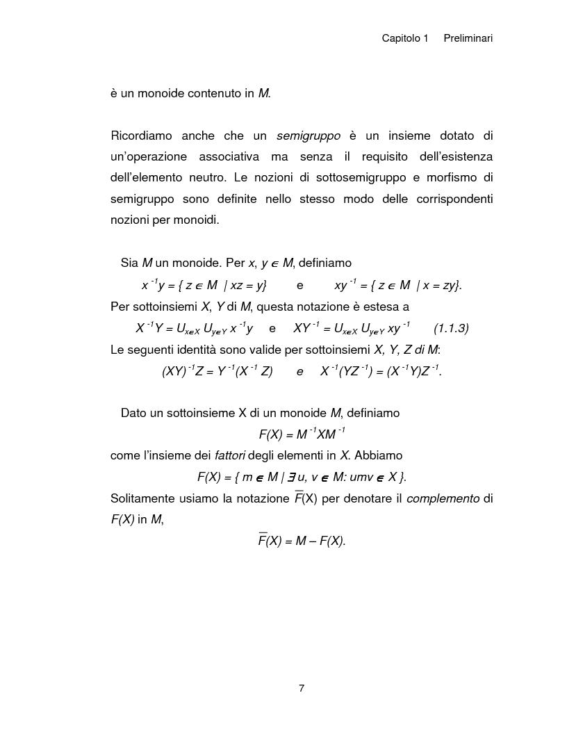 Anteprima della tesi: Progetto, analisi e implementazione in Java di un algoritmo efficiente per decidere l'univoca decifrabilità di linguaggi regolari, Pagina 7