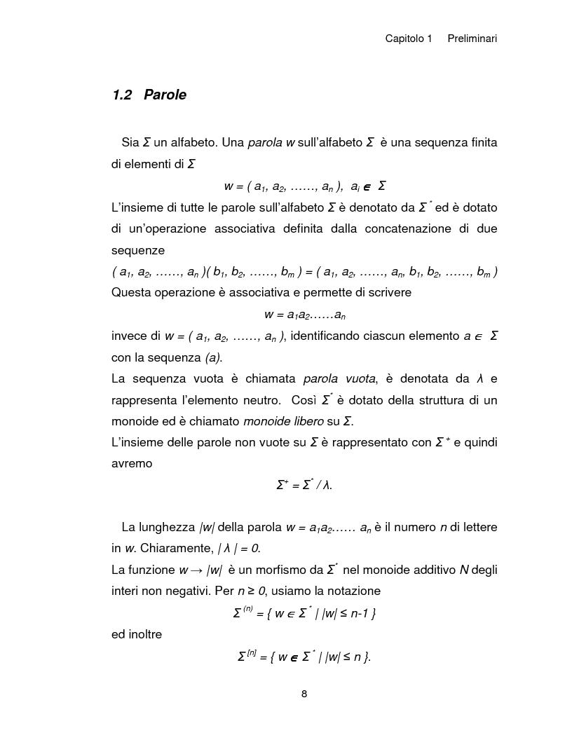 Anteprima della tesi: Progetto, analisi e implementazione in Java di un algoritmo efficiente per decidere l'univoca decifrabilità di linguaggi regolari, Pagina 8