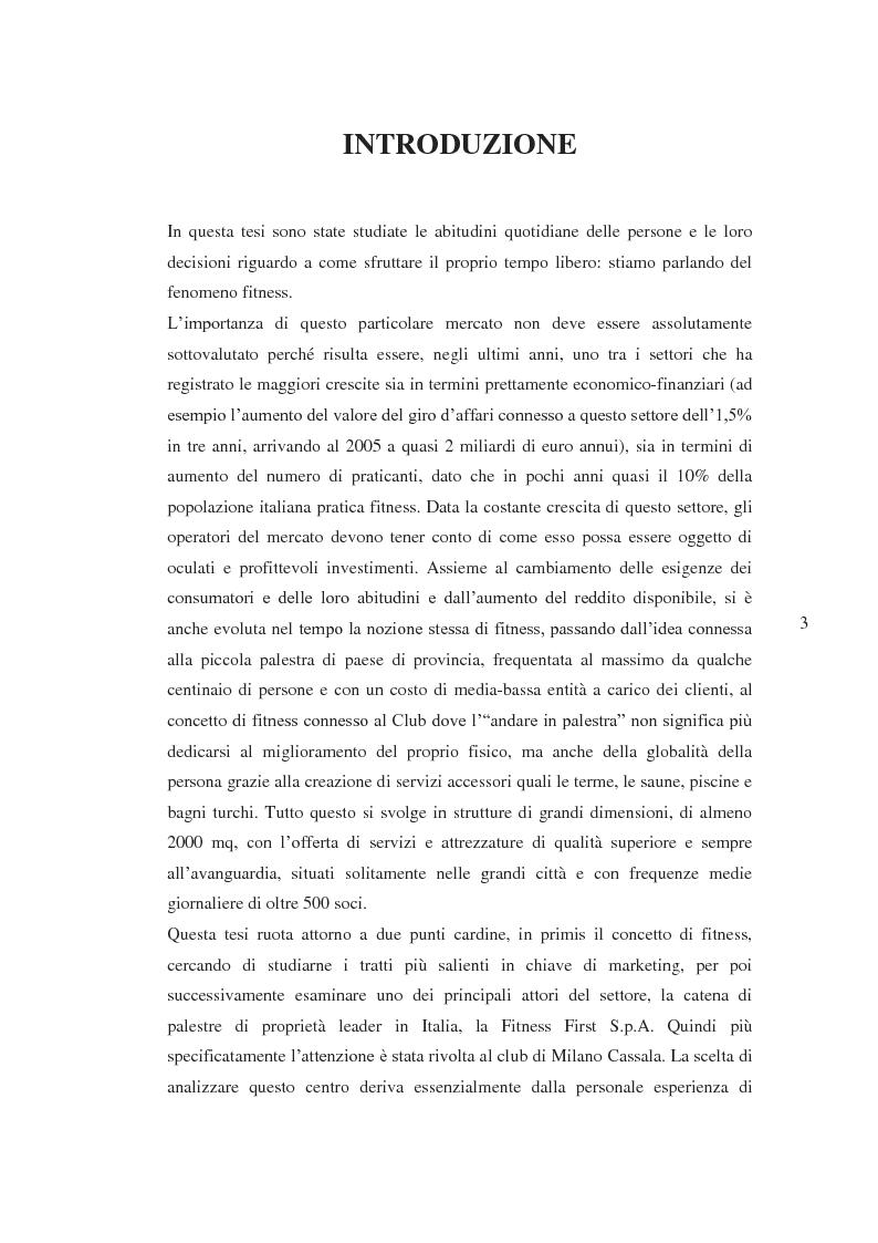 Anteprima della tesi: Il prodotto fitness e analisi critica della multinazionale del benessere leader mondiale: il caso Fitness First Italia S.p.A., Pagina 1