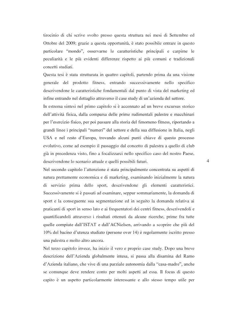 Anteprima della tesi: Il prodotto fitness e analisi critica della multinazionale del benessere leader mondiale: il caso Fitness First Italia S.p.A., Pagina 2