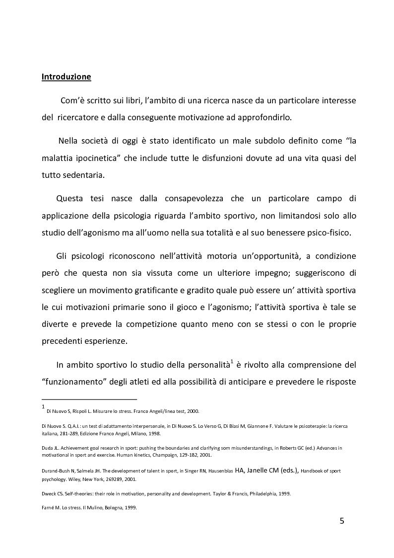 Anteprima della tesi: Ruolo delle variabili psicologiche nella prestazione sportiva di squadra. Una verifica empirica., Pagina 1