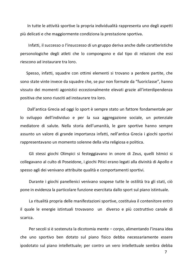 Anteprima della tesi: Ruolo delle variabili psicologiche nella prestazione sportiva di squadra. Una verifica empirica., Pagina 3