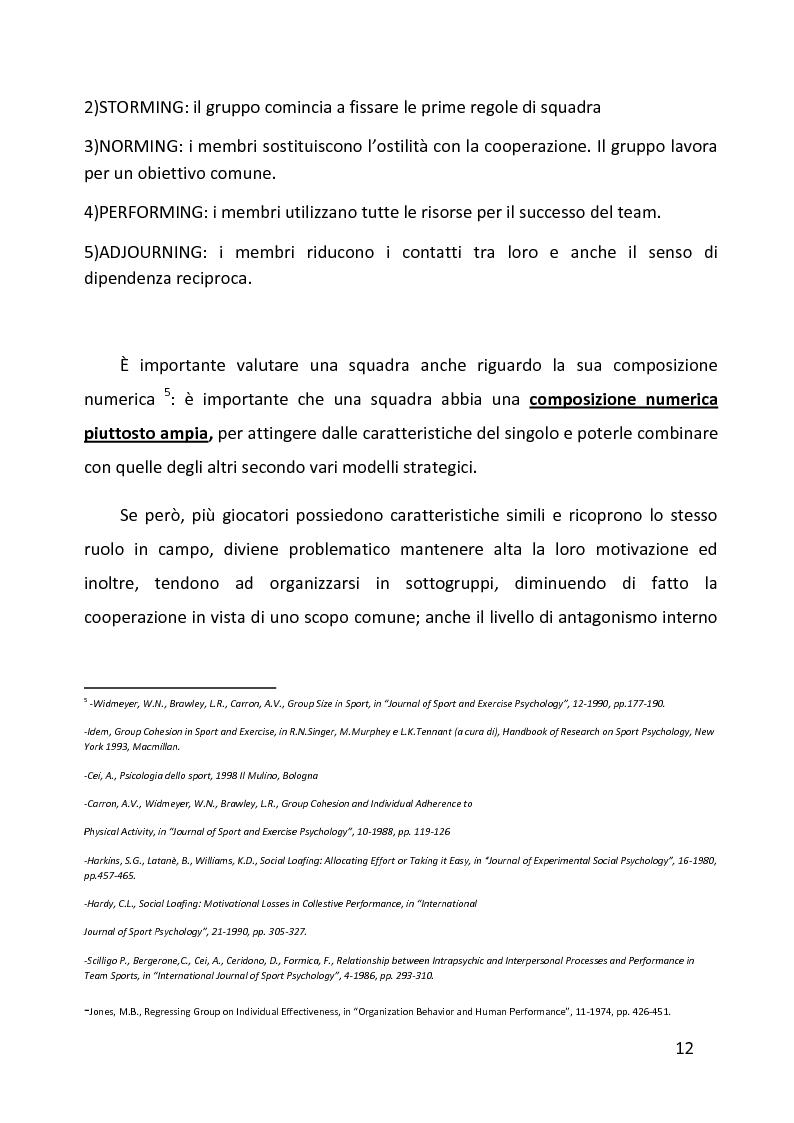 Anteprima della tesi: Ruolo delle variabili psicologiche nella prestazione sportiva di squadra. Una verifica empirica., Pagina 8