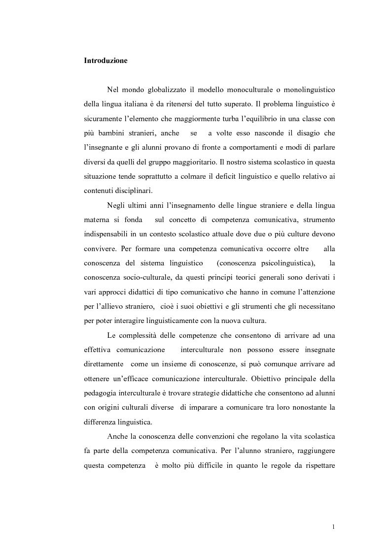 Anteprima della tesi: Insegnamento dell'italiano L2 nella scuola primaria: metodologie, progetti e applicazioni, Pagina 1