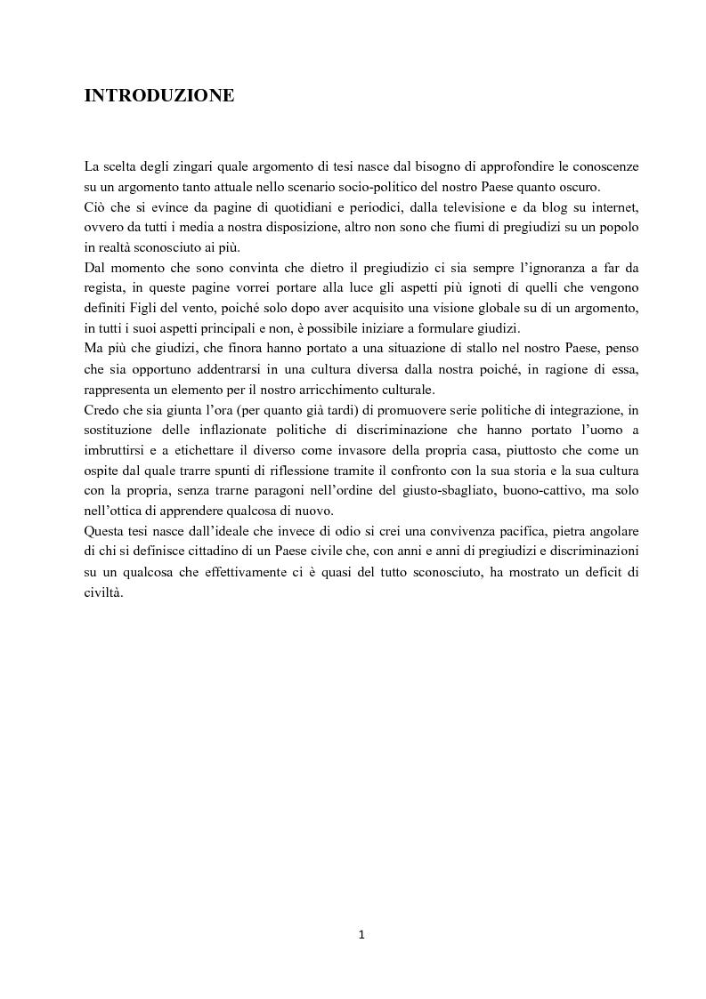 Anteprima della tesi: I Figli del vento: storia e cultura degli zingari, Pagina 1