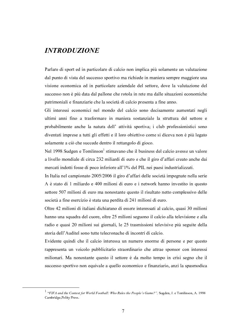 Anteprima della tesi: Profili contabili delle società calcistiche. Quale relazione tra successo sportivo e successo economico?, Pagina 1