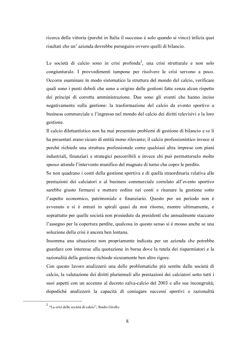 Anteprima della tesi: Profili contabili delle società calcistiche. Quale relazione tra successo sportivo e successo economico?, Pagina 2