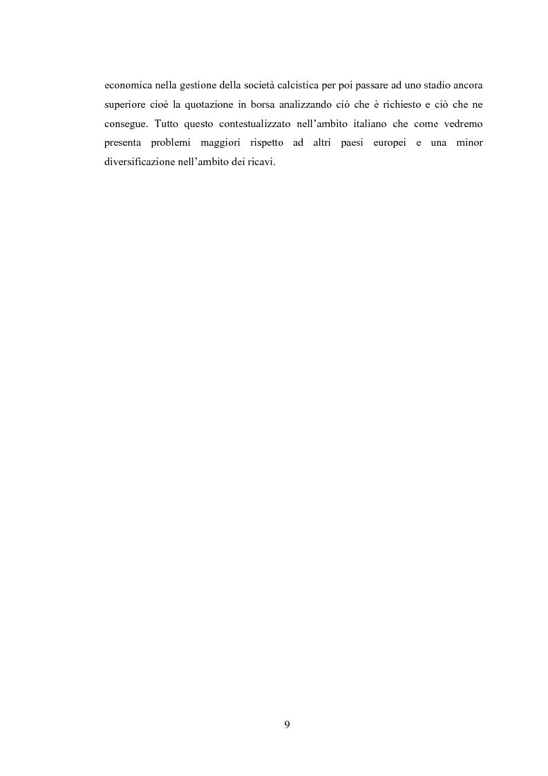 Anteprima della tesi: Profili contabili delle società calcistiche. Quale relazione tra successo sportivo e successo economico?, Pagina 3