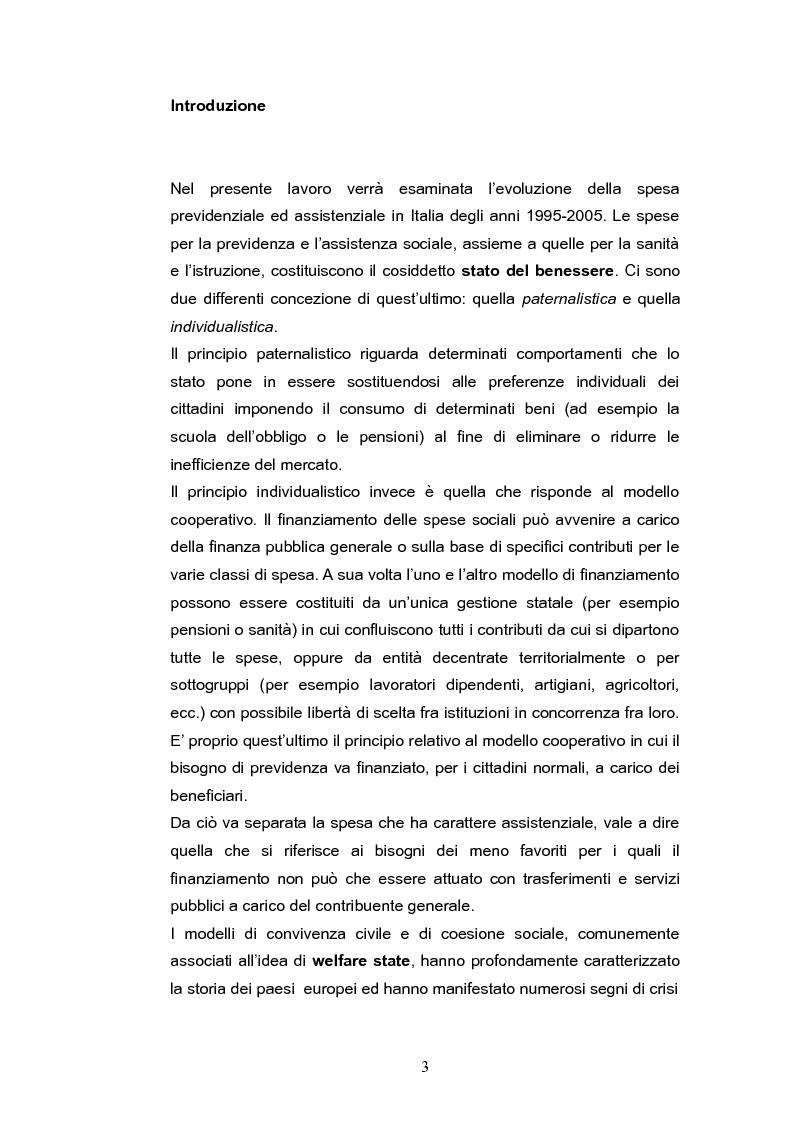 Anteprima della tesi: L'evoluzione della spesa per assistenza e previdenza in Italia, Pagina 1