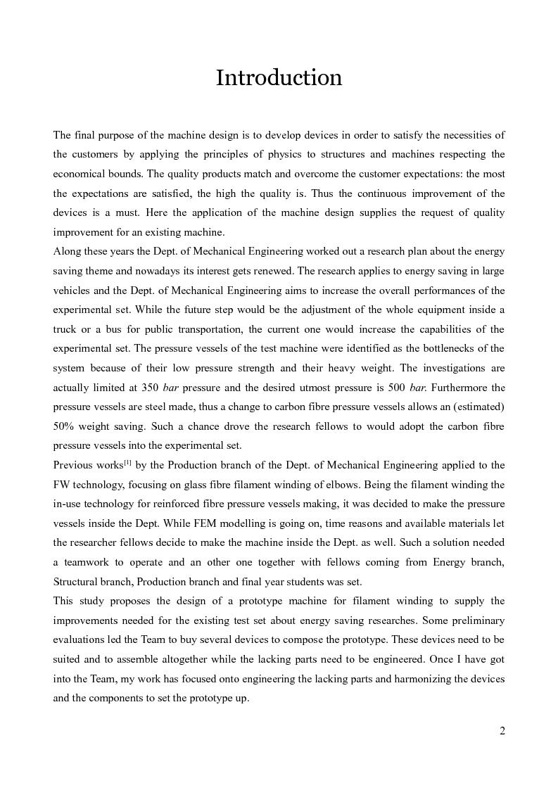 Anteprima della tesi: Design of a prototype device for filament winding of pressure vessels, Pagina 1