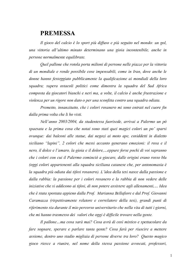Anteprima della tesi: Il marketing nel pallone... le strategie adottate dall'U.S. Città di Palermo. Analisi e confronto con altre realtà calcistiche italiane, Pagina 1