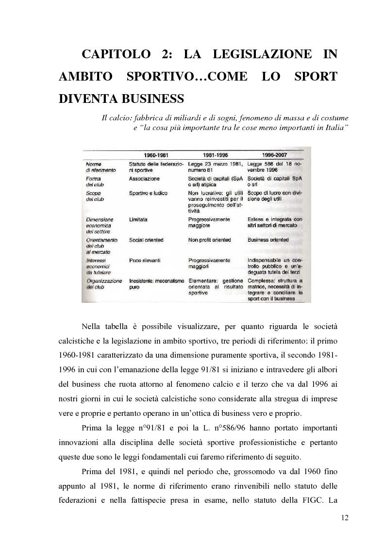 Anteprima della tesi: Il marketing nel pallone... le strategie adottate dall'U.S. Città di Palermo. Analisi e confronto con altre realtà calcistiche italiane, Pagina 12