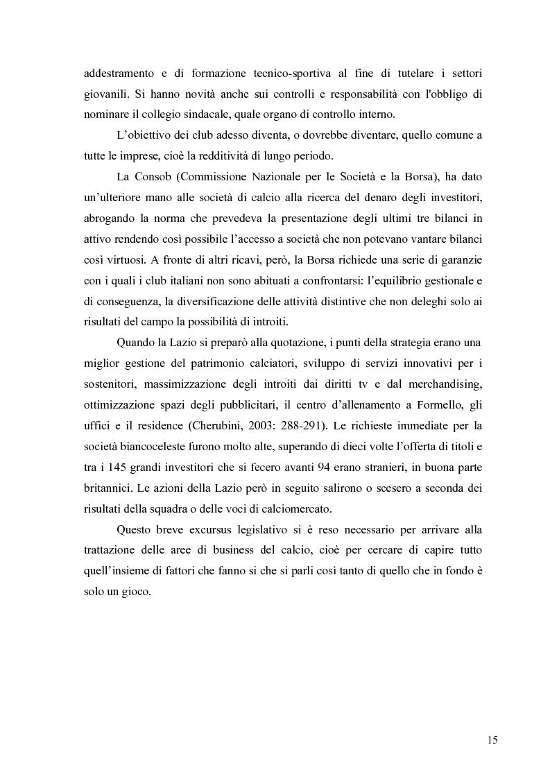 Anteprima della tesi: Il marketing nel pallone... le strategie adottate dall'U.S. Città di Palermo. Analisi e confronto con altre realtà calcistiche italiane, Pagina 15