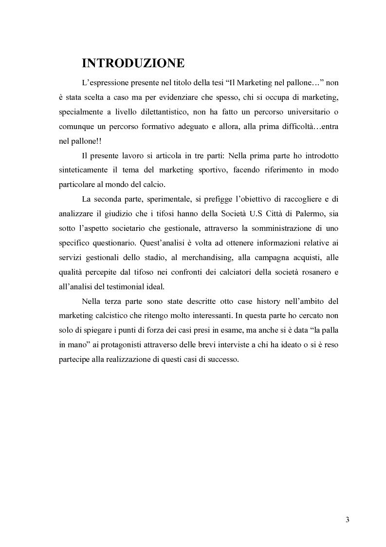 Anteprima della tesi: Il marketing nel pallone... le strategie adottate dall'U.S. Città di Palermo. Analisi e confronto con altre realtà calcistiche italiane, Pagina 3