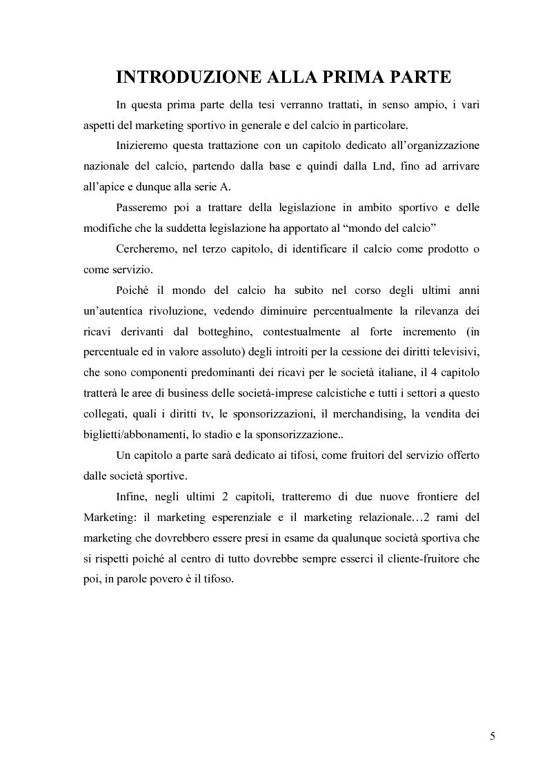 Anteprima della tesi: Il marketing nel pallone... le strategie adottate dall'U.S. Città di Palermo. Analisi e confronto con altre realtà calcistiche italiane, Pagina 5