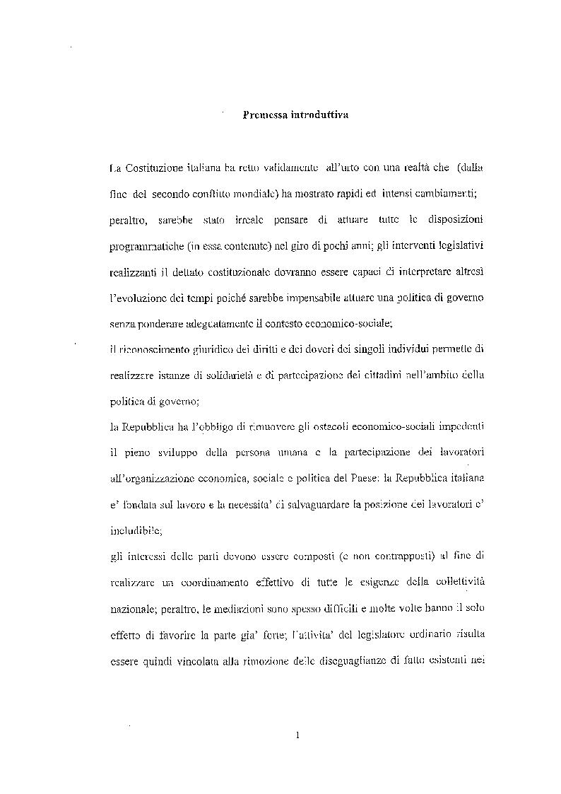 Anteprima della tesi: Legittimità del patto di declassamento in luogo del licenziamento, Pagina 1