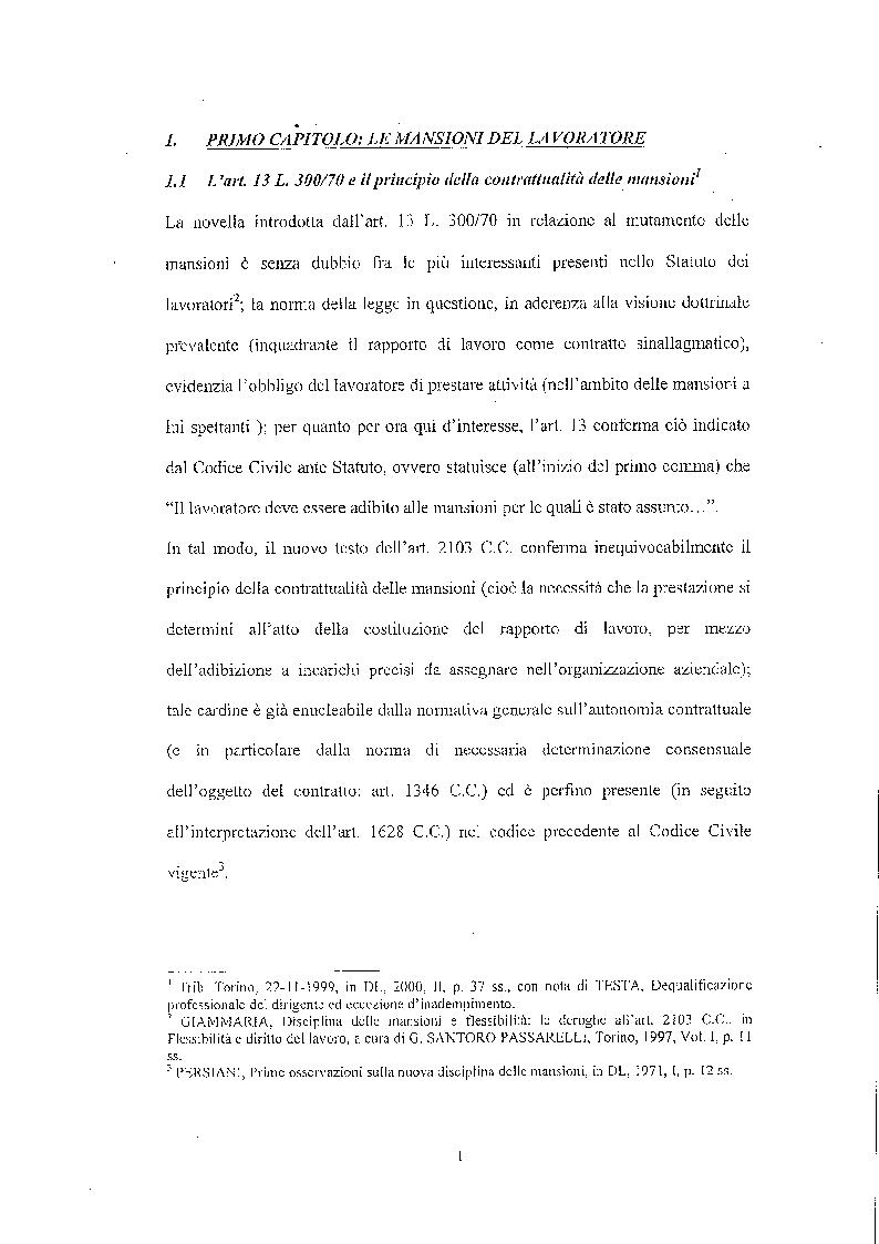 Anteprima della tesi: Legittimità del patto di declassamento in luogo del licenziamento, Pagina 4