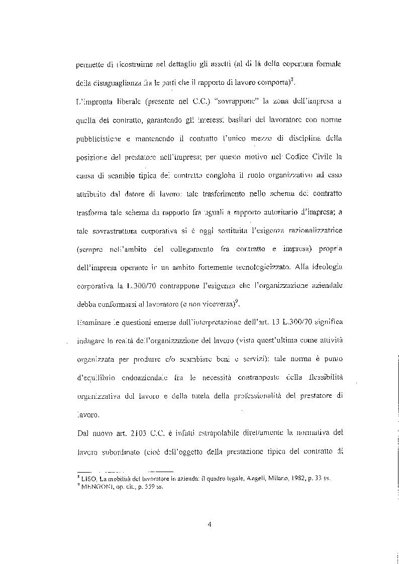 Anteprima della tesi: Legittimità del patto di declassamento in luogo del licenziamento, Pagina 7