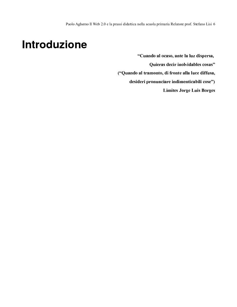 Anteprima della tesi: Il web 2.0 e la prassi didattica nella scuola primaria, Pagina 1