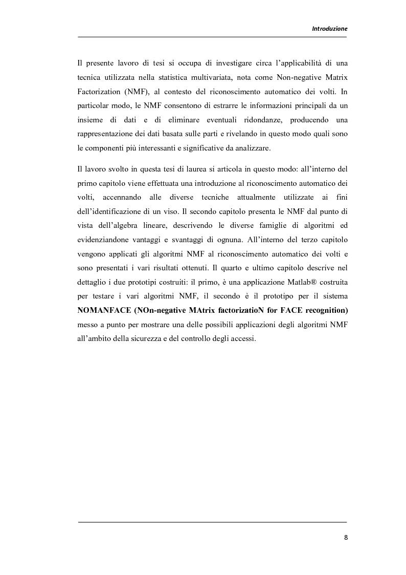 Anteprima della tesi: Un prototipo per il sistema NOMANFACE (NOn-negative MAtrix factorizatioN for FACE recognition), Pagina 2